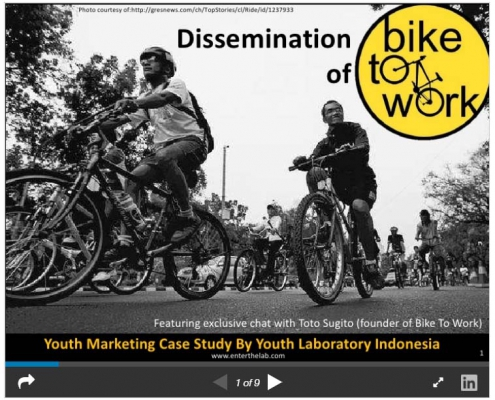 Dissemination of Bike to Work:Indonesian youth marketing case study